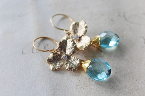 Aqua Quartz and CZ Flower Earrings