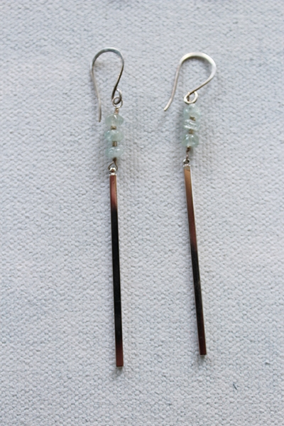 Aquamarine Stick Earrings