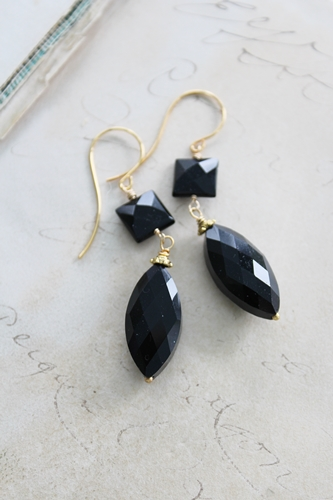 Black Onyx and Gold Earrings