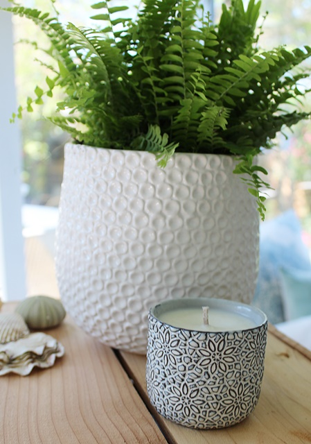 Hand Poured Soy Candles - Navy & White Cachepot