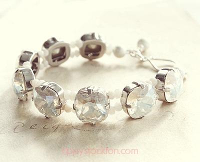 Swarovski Crystal Cabachon Beaded Bracelet - The Helena Bracelet
