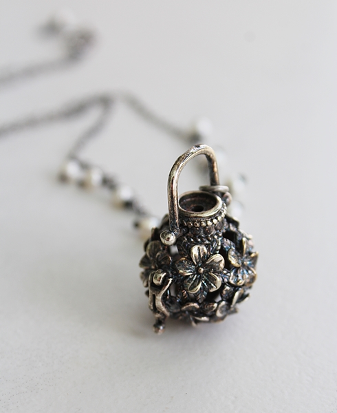 Flower Basket Locket on Sterling Silver Necklace - The Basket Necklace
