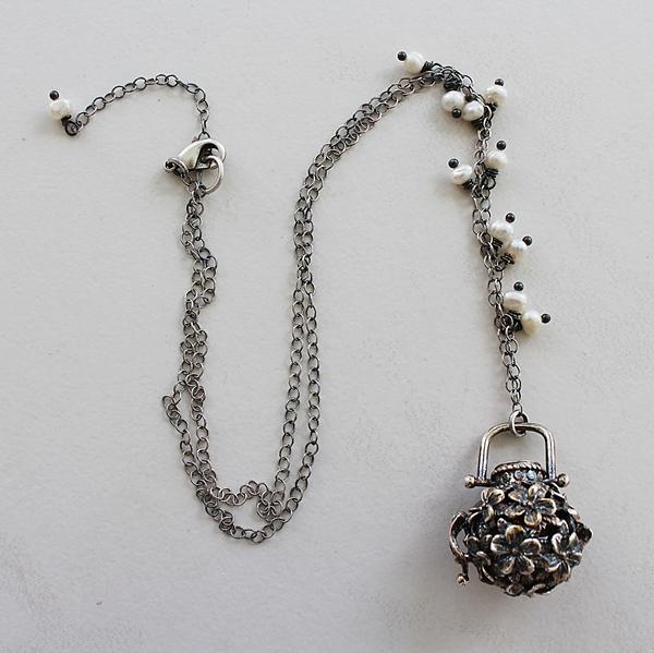 Flower Basket Locket on Sterling Silver Necklace - The Basket Necklace