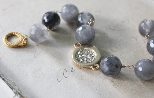 Gray Moonstone and Rhinestone Bracelet