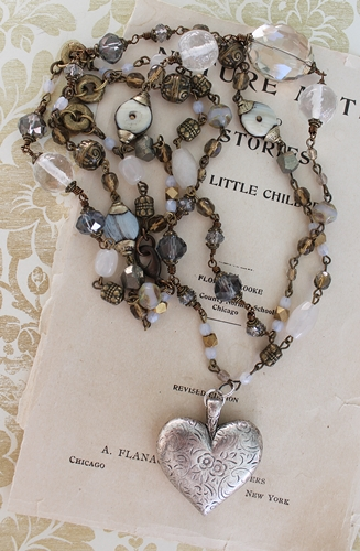 Raw Labradorite Vintage Spacers and Heart Pendant Necklace - The Teresa Necklace