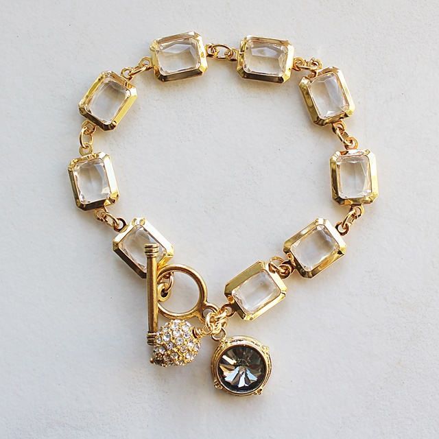 Chanel Inspired Link Bracelet with Rhinestones and Charm - The Coco Bracelet