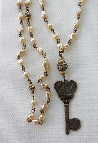 Vintage Glass Pearls and Devotion Pendant Necklace - The Devotion Necklace