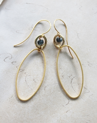 Moss Aquamarine Gold Hoop Earrings