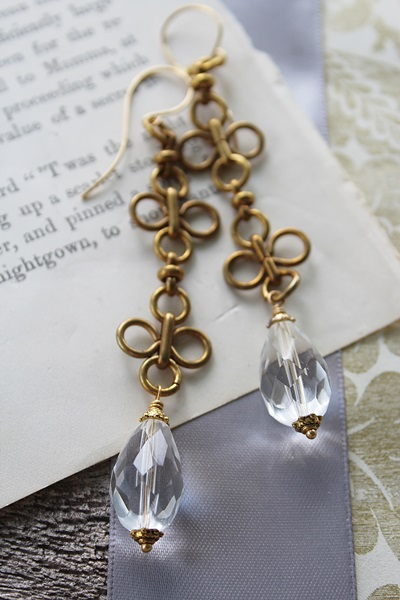 Vintage Clover Chain and Glass Earrings  - The Helene Earrings