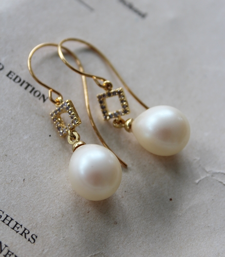 CZ and Vintage Pearl Earrings