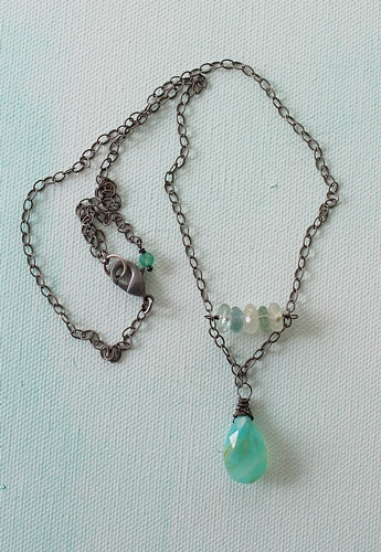 Peruvian Opal Briolette and Aquamarine Necklace - The Daniella Necklace