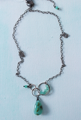 Peruvian Opal Briolette Circle Necklace - The Sofia Necklace