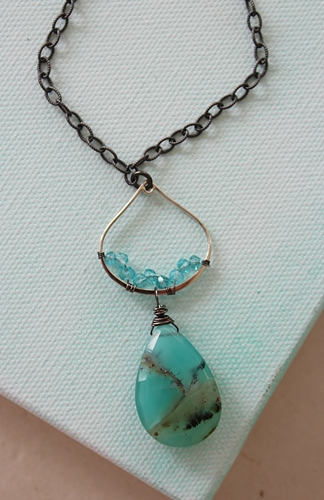 Peruvian Opal Briolette with Apatite Accents - The Luciana Necklace