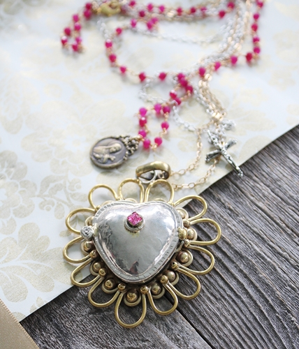 OOAK Artisan Pink Tourmaline/Ruby Heart Locket Necklace