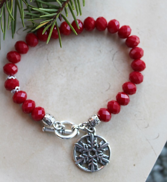 Vintage Czech Glass and Snowflake Charm Bracelet - The Merry Bracelet