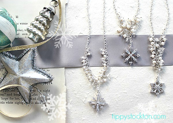 Sterling Silver Snowflake with Fresh Water Pearls and Clear Quartz - The Snow Necklace