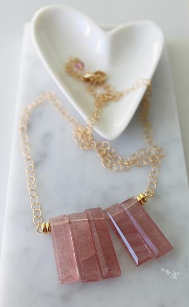 Strawberry Quartz Bib Necklace - The Jayne Necklace
