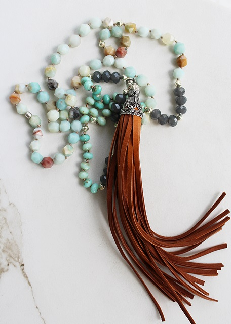 Natural Amazonite Boho Tassel Necklace - The Flagstaff Necklace