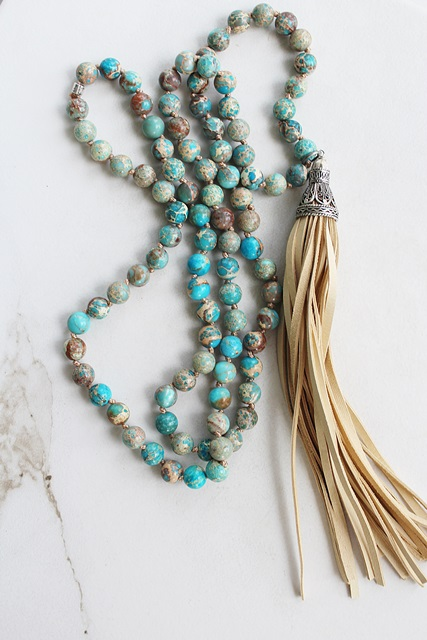 Aqua Ocean Jasper Tassel Necklace - The Cabo Necklace
