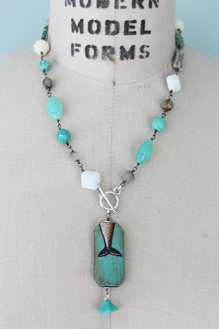 Mixed Glass Whale Pendant Necklace - The Orca Necklace