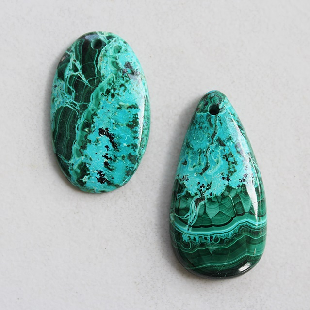 Malachite and Chrysocolla Pendant Necklace - The Belize Necklace