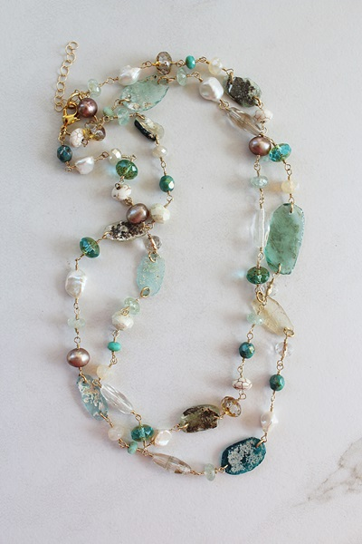 Ancient Roman Glass and Mixed Gem Necklace - The Adreanna Necklace