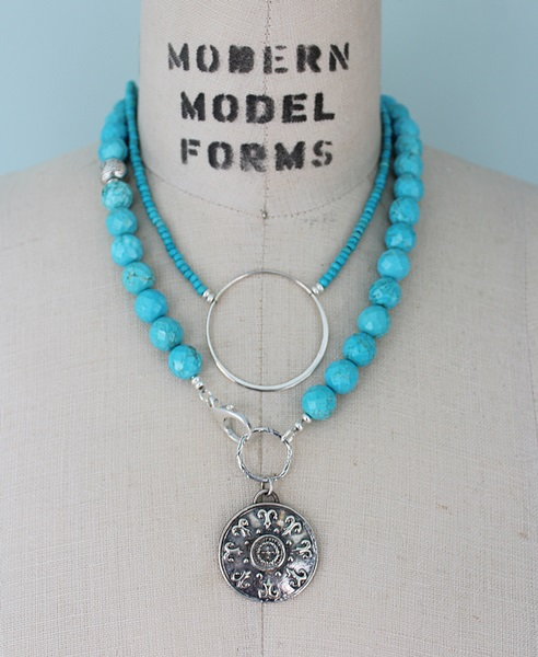 Turquoise and Sterling Silver Mandala Lariat Necklace - The Aisha Necklace