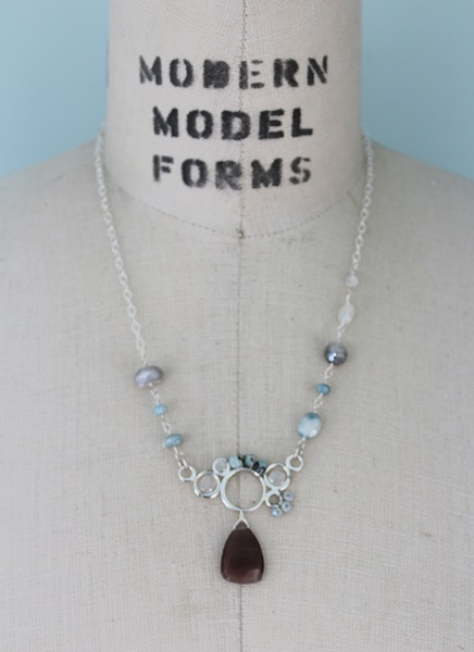 Australian Moonstone and Zircon Sterling Silver Necklace - The Stella Necklace