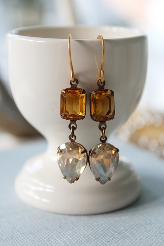 Topaz and Citrine Vintage Glass Drop Earrings