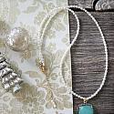 Cushion Cut Aquamarine and White Topaz Pendant Necklace