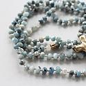 Hand Knotted Aquamarine and Sideways Cross Necklace - The Devotion Necklace