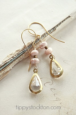 Australian Moonstone and Vintage Lucite Cabachon - The Aubrey Earrings