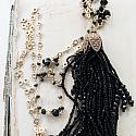 Black Czech Glass Tassel and Spinel Necklace - The Blakely Necklace