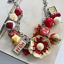 Market Day Trinket Necklace - Yellow Red Chicken Little & Bulldog Necklace