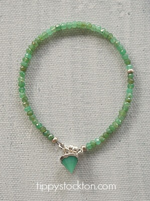 Chrysoprase Skinny Bracelet with Stone Charm