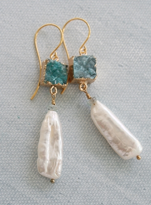 Aqua Druzy and Fresh Water Pearl Earrings - The Nora Earrings