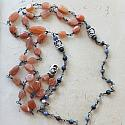 Peach Moonstone and Sodalite Pendant Necklace - The Sandy Necklace