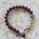 Vintage Glass, Apatite, Citrine, Sterling Dragonfly Charm Bracelet - The Emma Bracelet