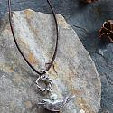 Silver Nest, Bird and Leather Necklace - The Bird of Hope Necklace