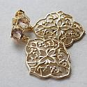 Champagne Quartz and Filigree Post Earrings - The Jeneane Earrings