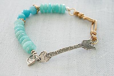 Aquamarine and Jasper Sterling Silver Bracelet - The Follow your Heart Bracelet