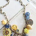 Market Day Trinket Necklace - Sunflower and Royal Blue Necklace