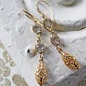 Gold Filigree and Clear Crystal Drop Earrings - The Beth Earrings