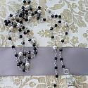 Midnight Blue Glass and Pearl Lariat - The Luna Necklace