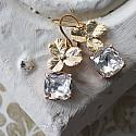 CZ Hydrangea Leaf and Clear Swarovski  Drop Earrings - The Flora Earrings