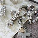 Mixed Gem and Vintage Glass Cross Necklace