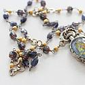 Iolite and Mixed Glass Filigree Pendant Necklace - The Audrey Necklace