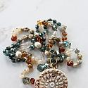Mixed Glass and Circle Pendant Necklace - The Lucy Necklace