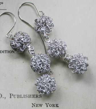 Cotton Earrings-earrings, cotton, ball, wire, sterling silver, feminine, winter, holiday, gift, christmas, wholesale, tippy stockton
