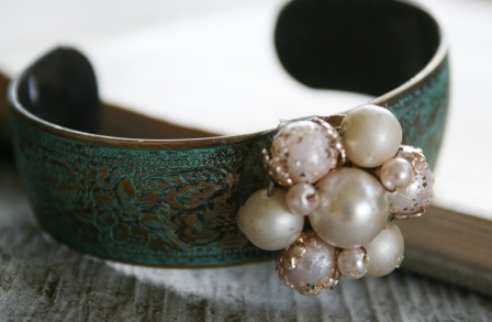The Avery Cuff Bracelet-bracelet, cuff, verdigris, brass, vintage pearl, feminine, pretty, wholesale, tippy stockton